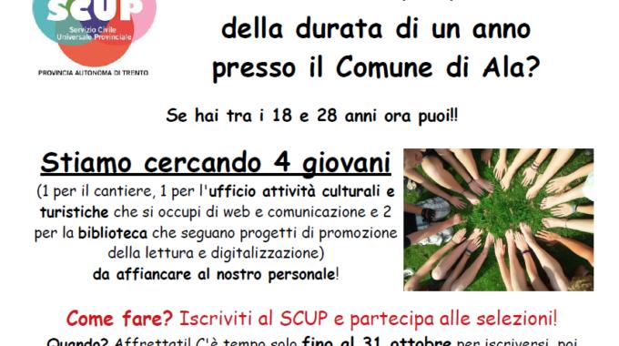 SERVIZIO CIVILE Al Comune Di Ala: Aperte Le Iscrizioni!!!
